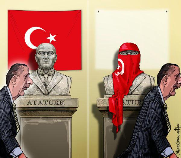Erdogan's cartoon about hateful words and Kurdish opening against Atatürk. Author Shlomo Cohen