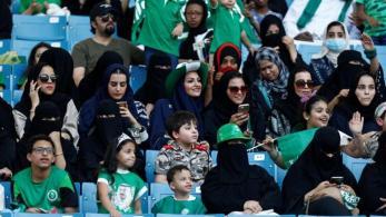 Saudi Arabia women attend arally to celebrate the 87th annual National Day of Saudi Arabia in Riyadh