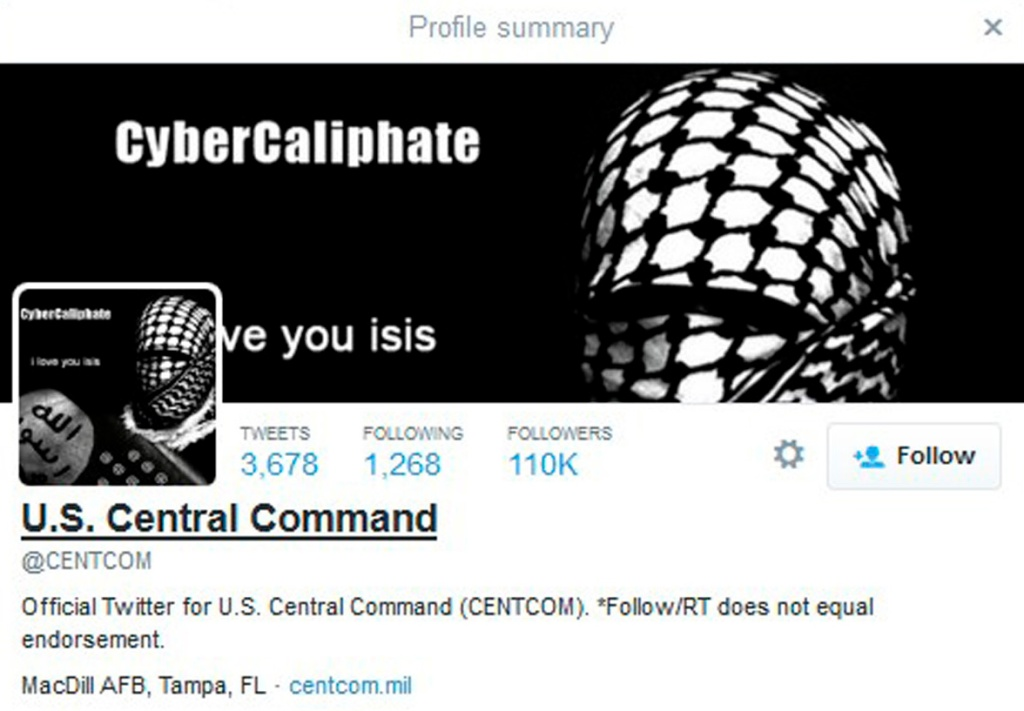 A computer screenshot shows the U.S. Central Command Twitter feed after it was apparently hacked by people claiming to be Islamic State sympathizers