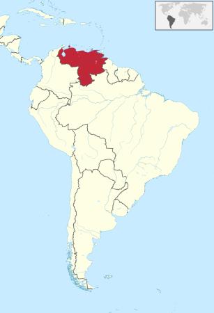 Venezuela on South America map TUBS wikimedia commons