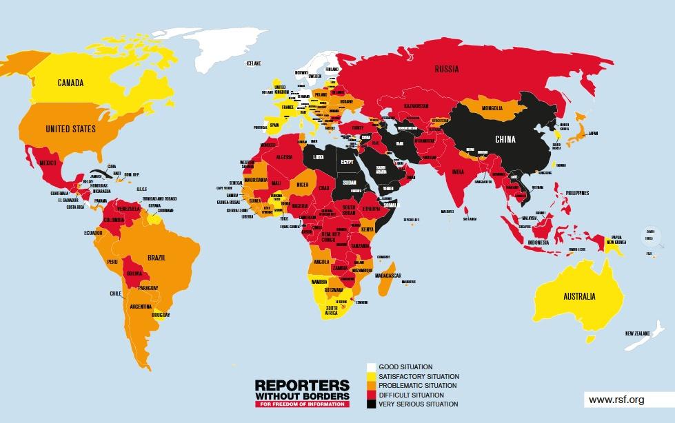 wolność prasy na świecie w 2019 roku. Źródło rsf.org